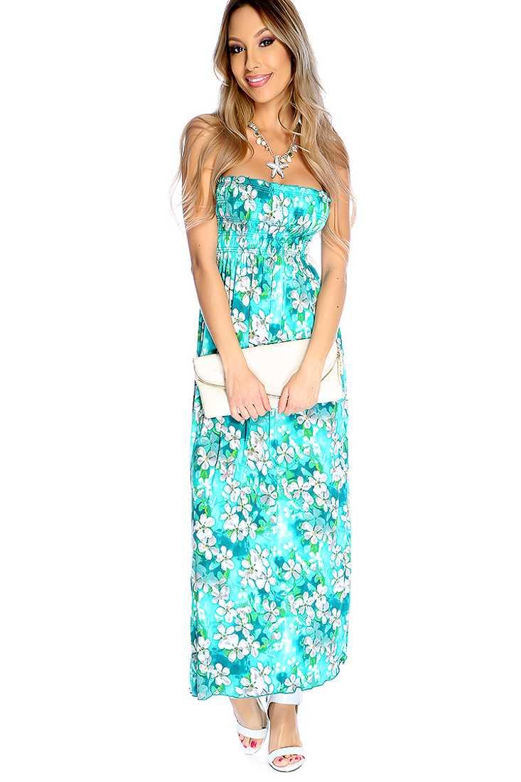 Seafoam Floral Print Strapless Casual Maxi Dress