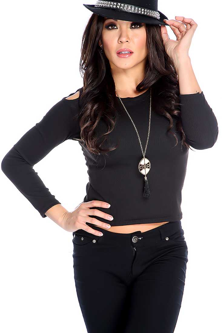Sexy Black Long Sleeve Bare Shoulder Causal Top