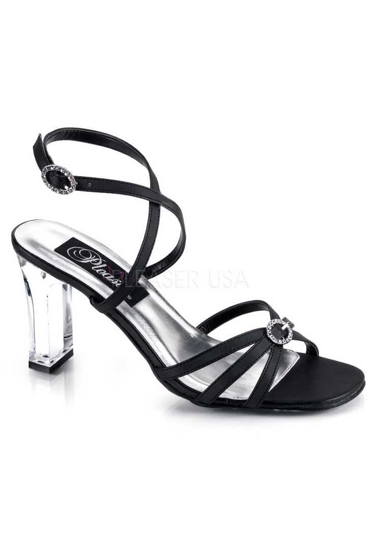 Black Strappy Ankle Square Heel Heel Faux Leather