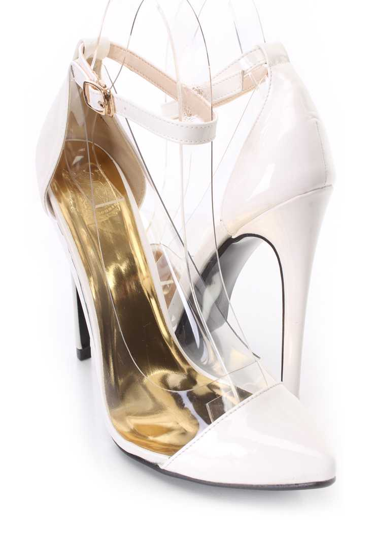 White Clear Trimmed Single Sole Heels Patent