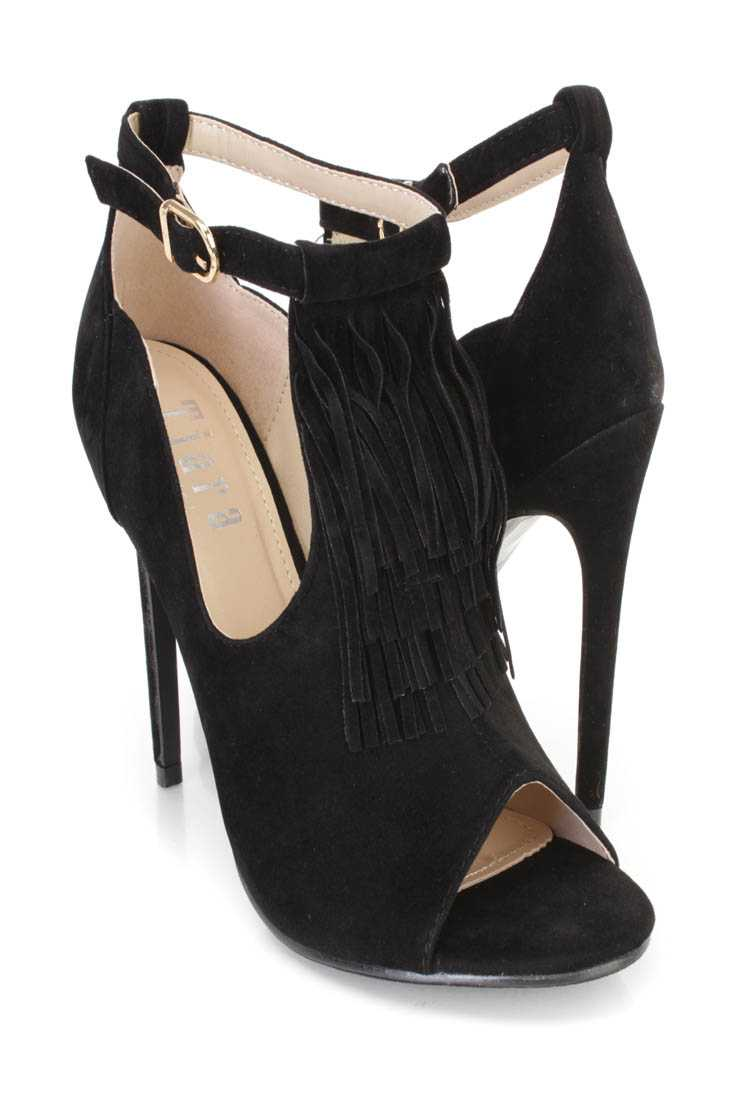 Black Peep Toe Fringe Single Sole Booties Faux Suede