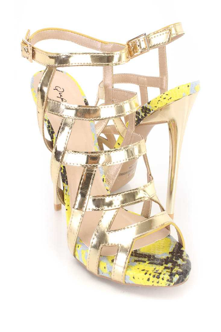 Gold Strappy Single Sole High Heels Metallic Faux Leather
