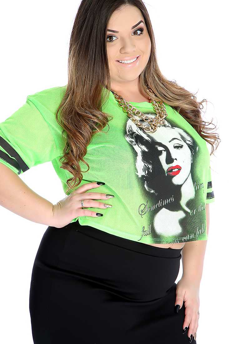 Neon Green Marilyn Print Perforated Casual Plus Size Top