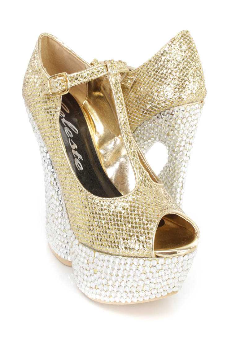 Gold Rhinestone T Strap Platform Heels Glitter