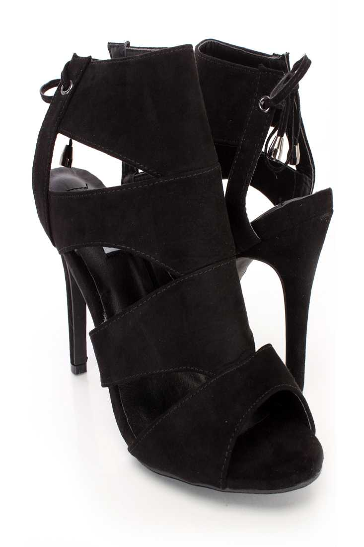 Black Cut Out Strappy Single Sole Booties Faux Suede