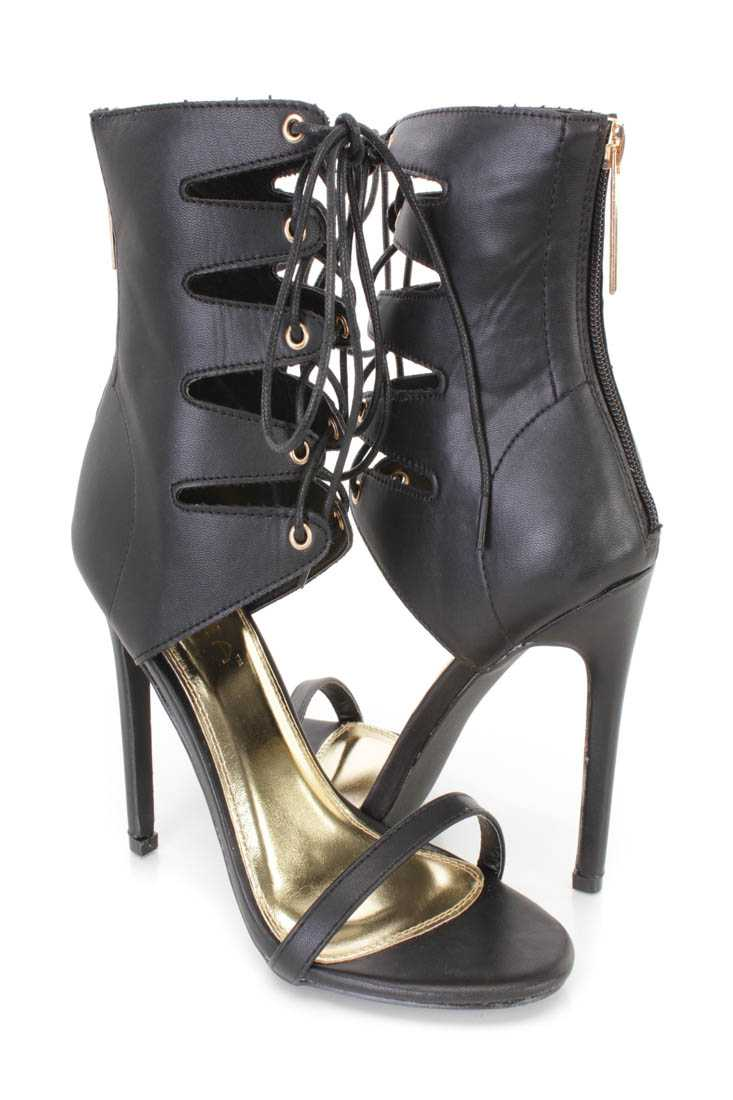 Black Lace Up Open Toe Single Sole High Heels Faux Leather