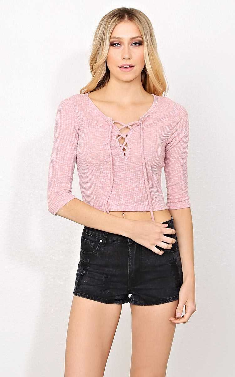 Laced Rib Knit Crop Top - LGE - Dusty Rose in Size Large by Styles For Less