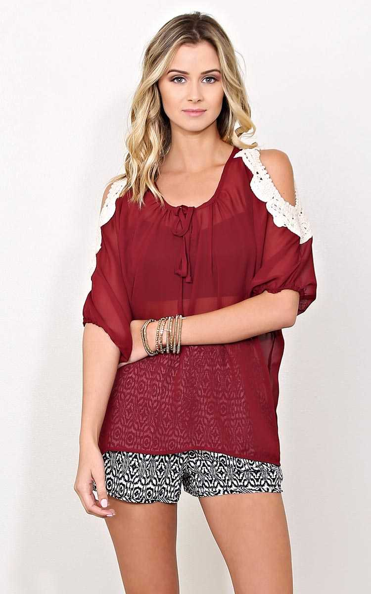 Sunset Vibes Woven Top - XSML - Burgundy in Size XSmall by Styles For Less