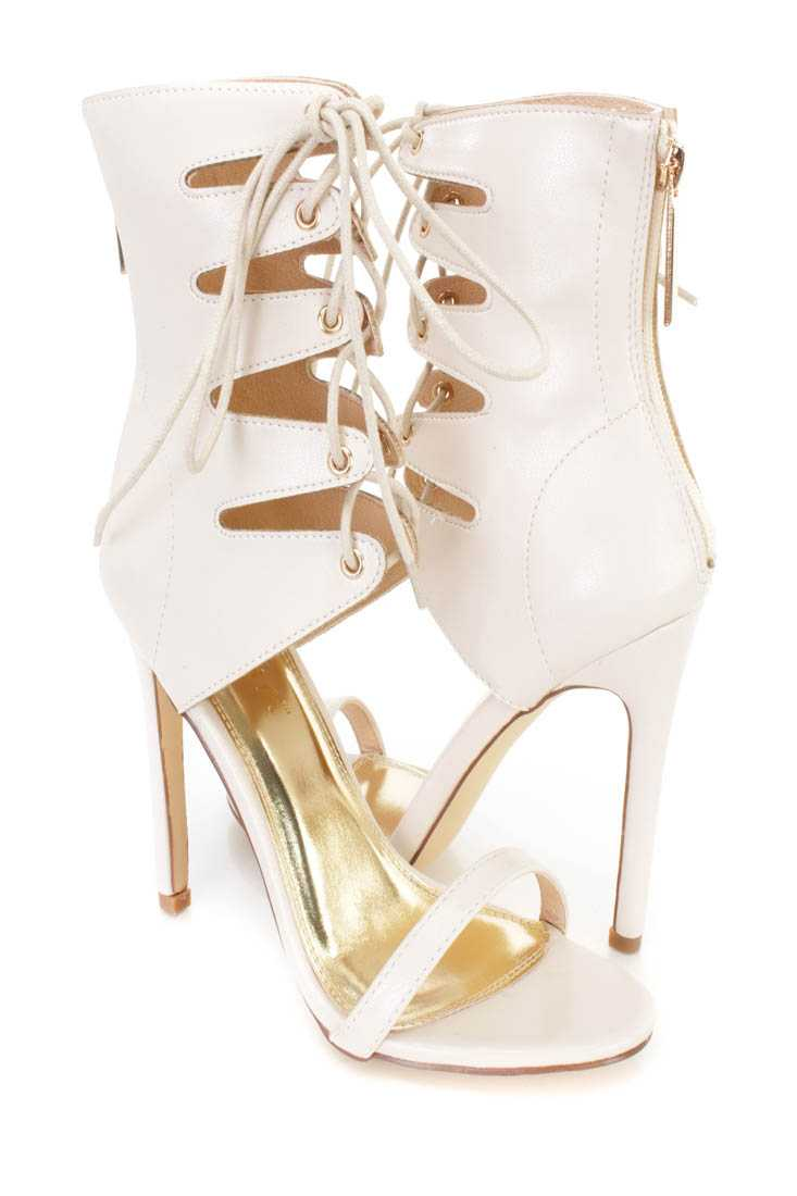 Cream Lace Up Open Toe Single Sole High Heels Faux Leather