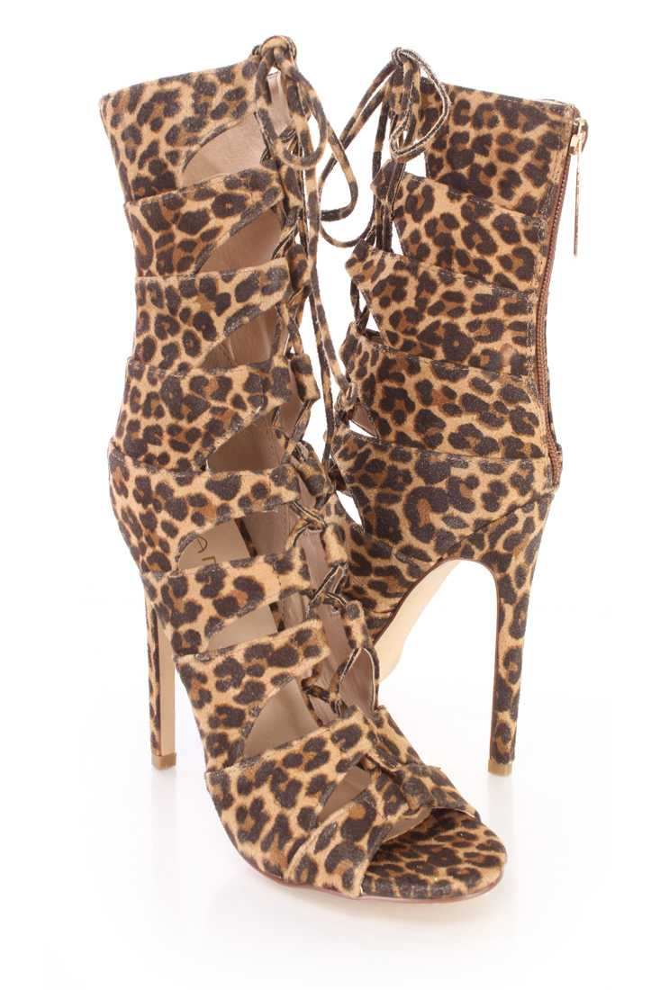 Leopard Print Strappy Peep Toe Sandal Booties Faux Leather