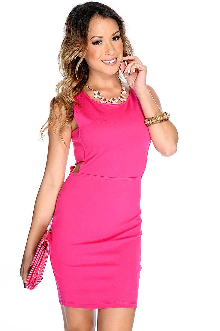 Sexy Fuchsia Sleeveless Side Cut Out Bodycon Party Dress