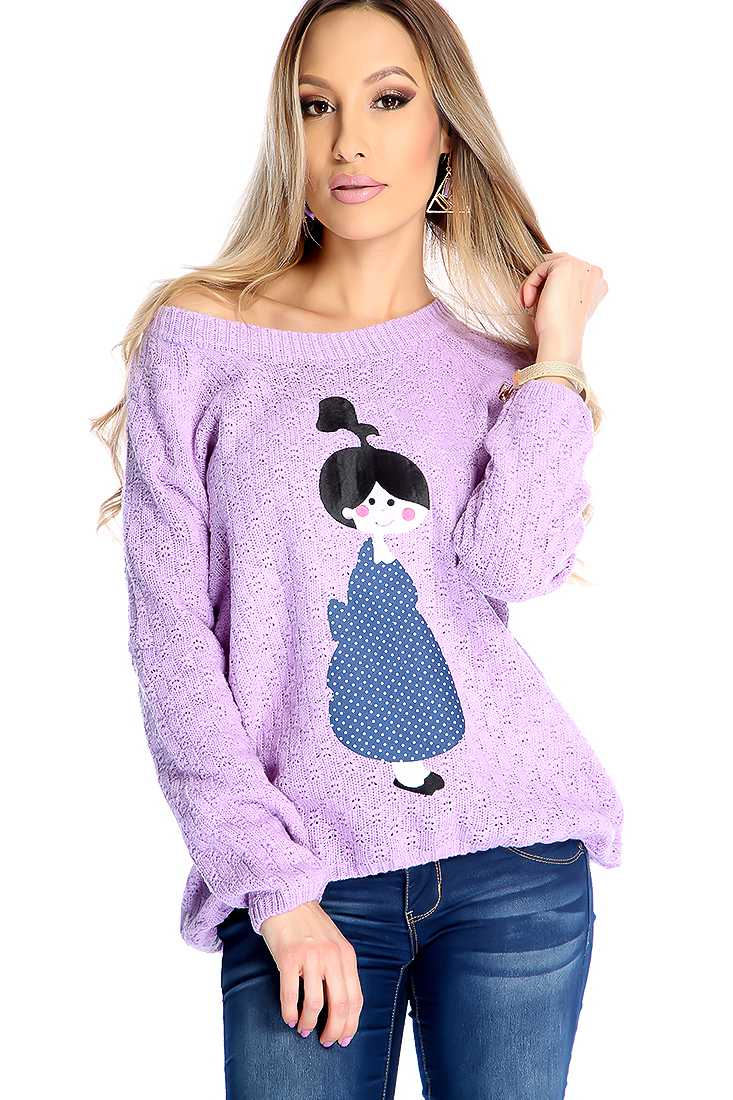 Lavender Knitted Girl Patch Long Sleeve Sweater Top