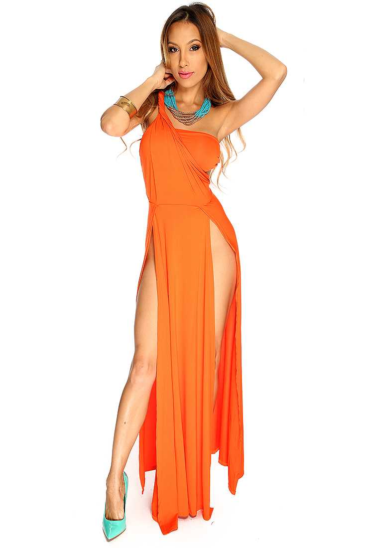 Orange One Shoulder Strap Slit Sexy Cockatil Maxi Dress
