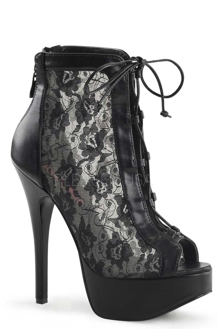 Black Lace Sides Platform Ankle Booties Faux Leather