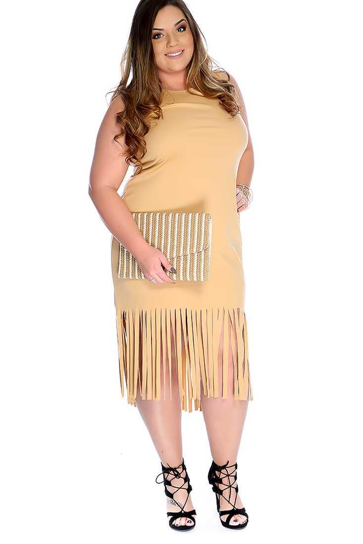 Camel Sleeveless Fringe Trim Plus Size Dress