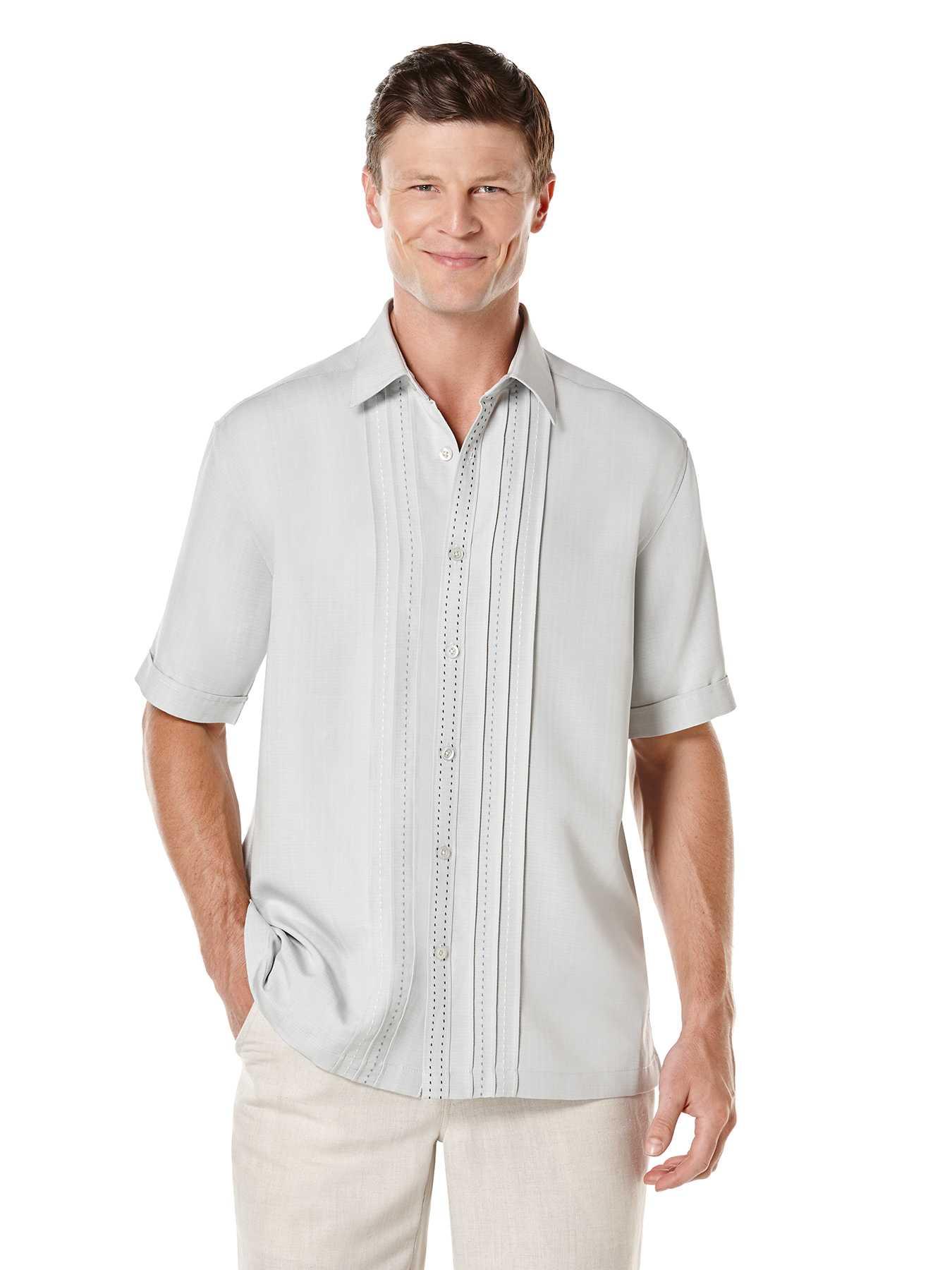 Cubavera Big & Tall Short Sleeve Front Pin Tucks With Pick Stitch
