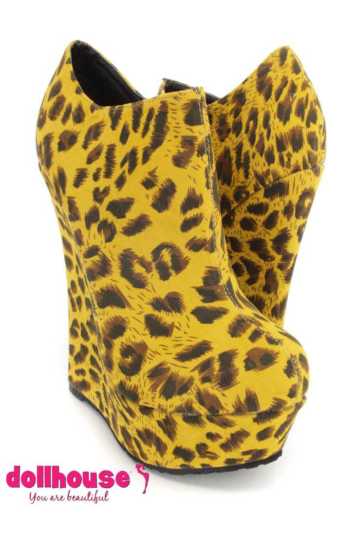 Mustard Leopard Print Wedge Ankle Booties Faux Suede
