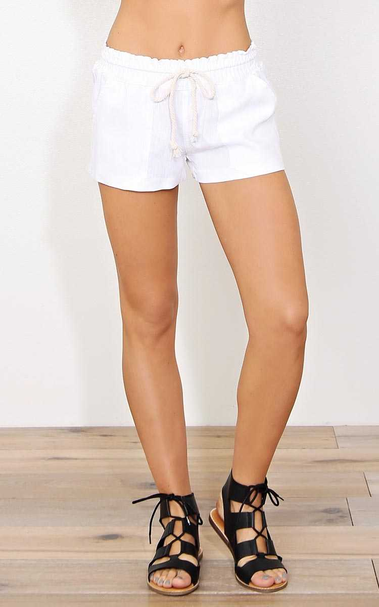 White Sands Linen Shorts - - Ivry/Natrl in Size by Styles For Less