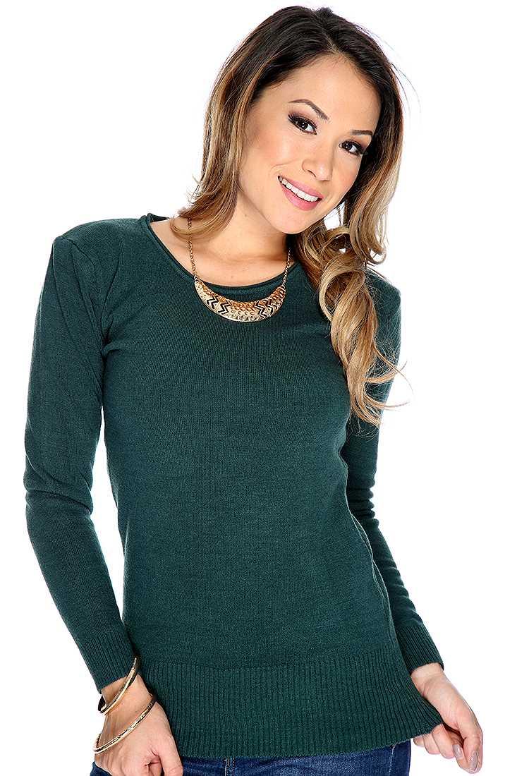 Hunter Green Ribbed Long Sleeve Sweater Top