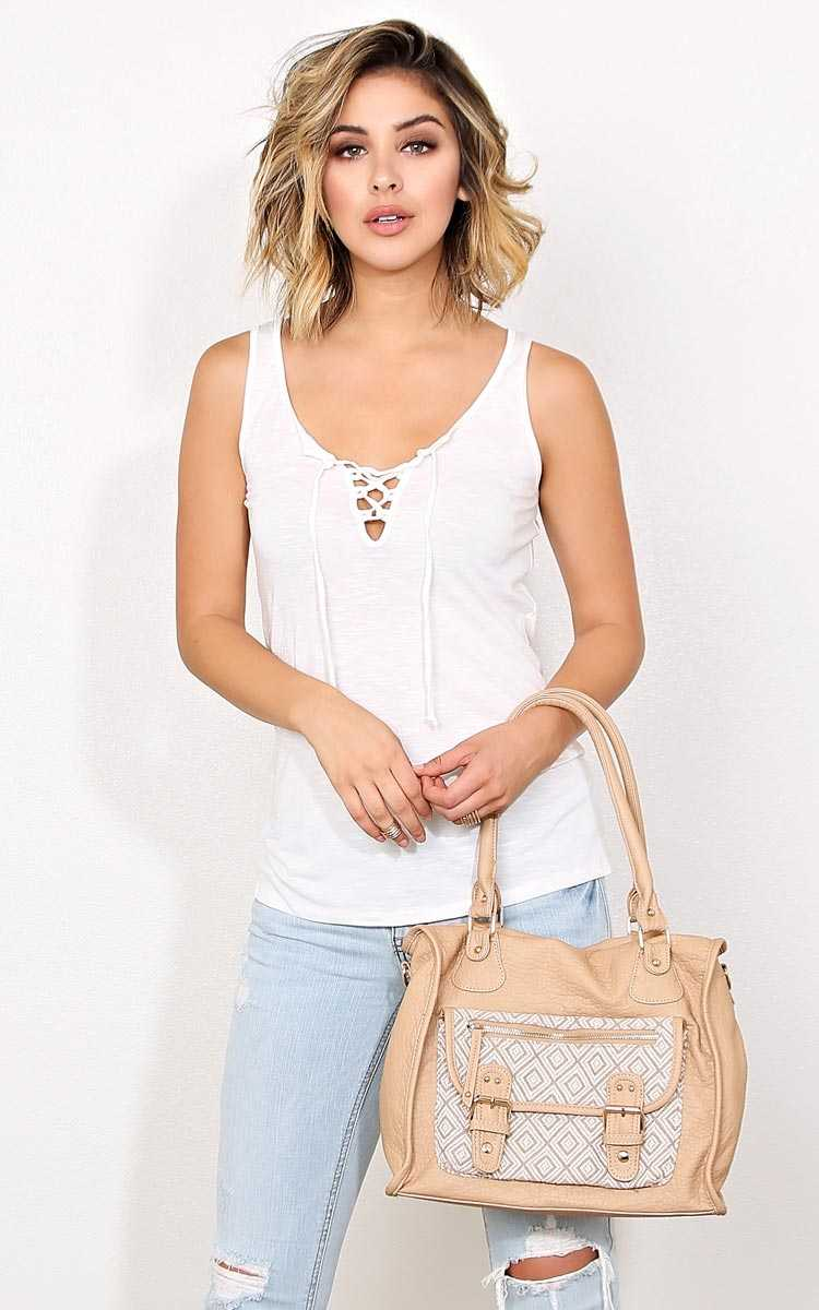 Meet Me in The Middle Knit Tank - - Ivry/Natrl in Size by Styles For Less