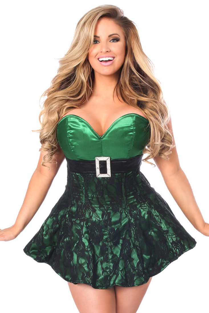 Green Lace Steel Boned Corset Dress