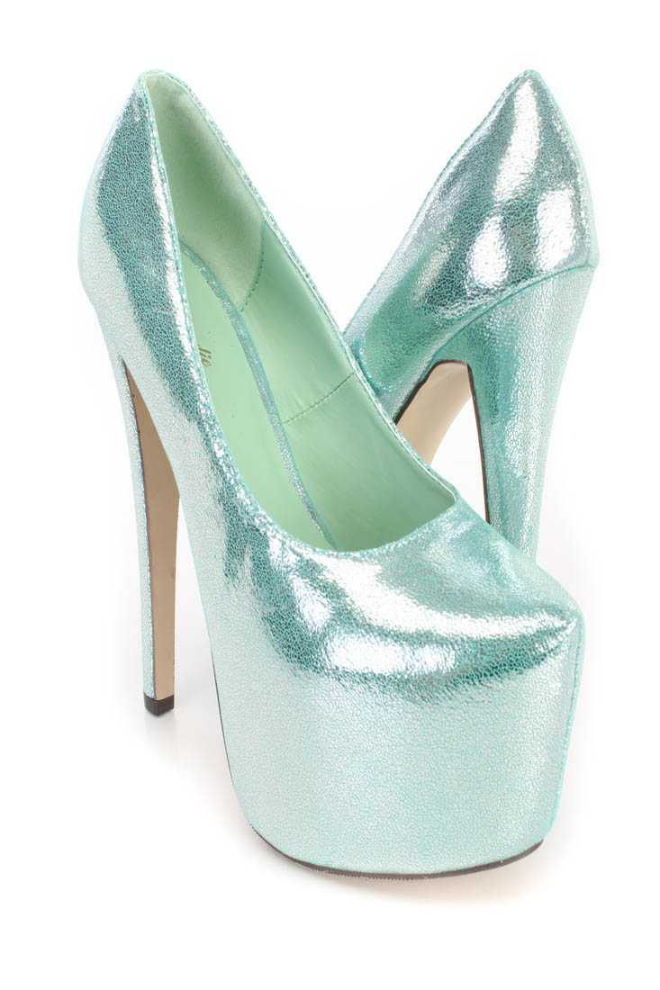 Mint Platform Pump 6 Inch High Heels Shimmer Fabric