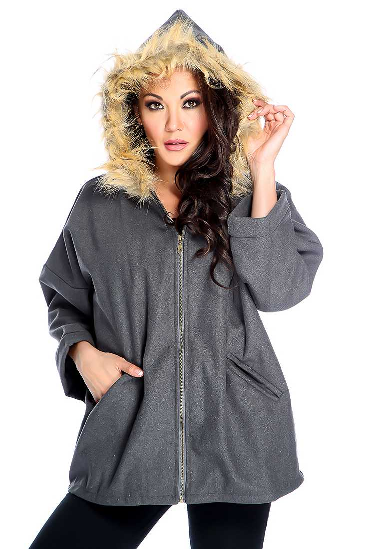 Charcoal Long Sleeve Zip Up Faux Fur Detail Coat