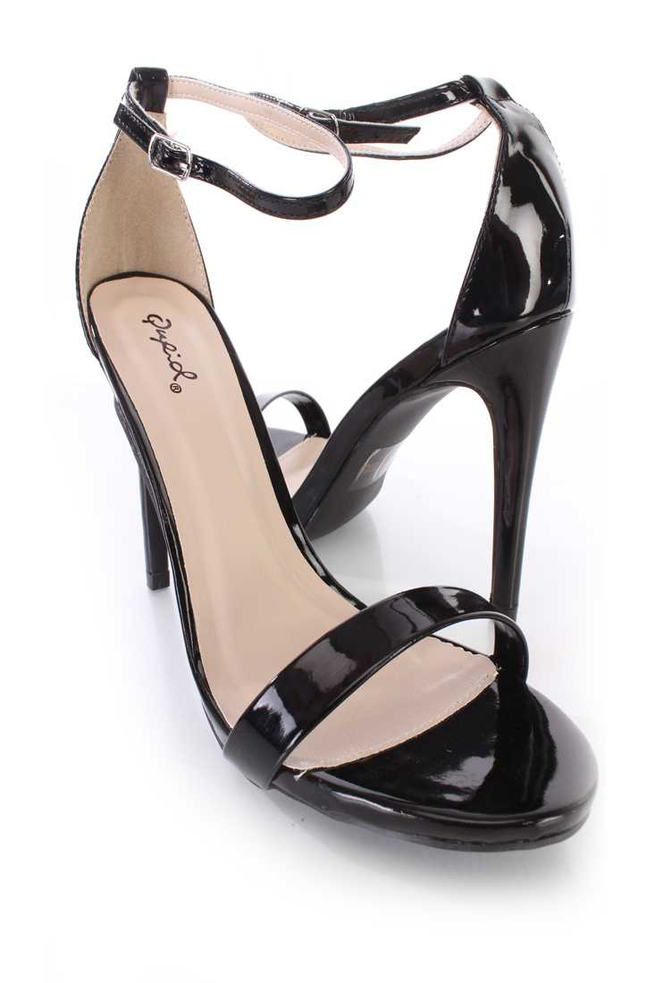 Black Open Toe Ankle Strap Single Soles Patent Faux Leather