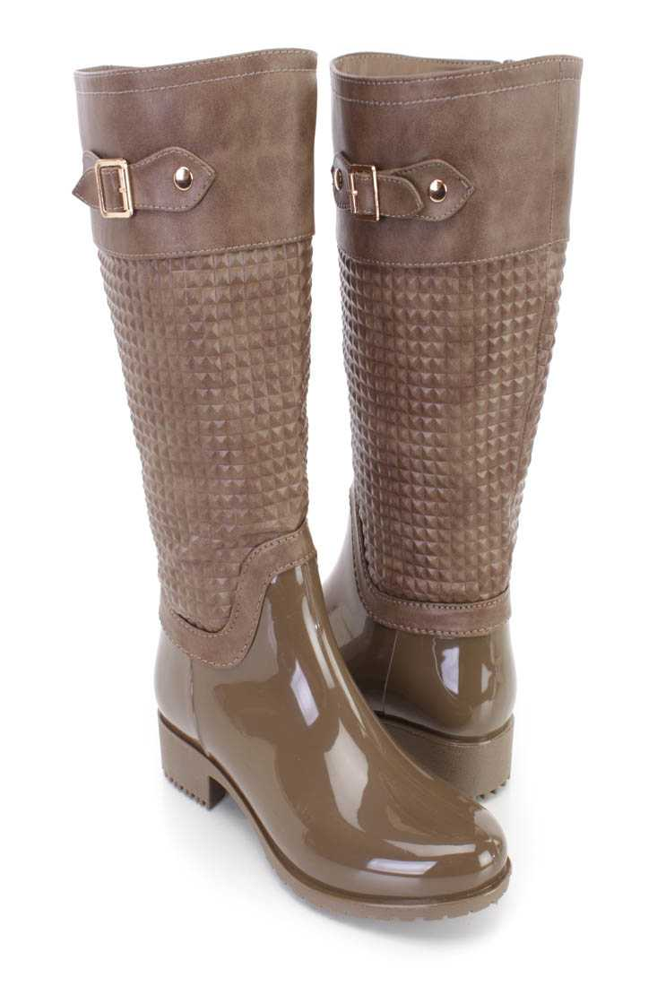 Khaki Pyramid Studded Textured Rain Boots Faux Leather