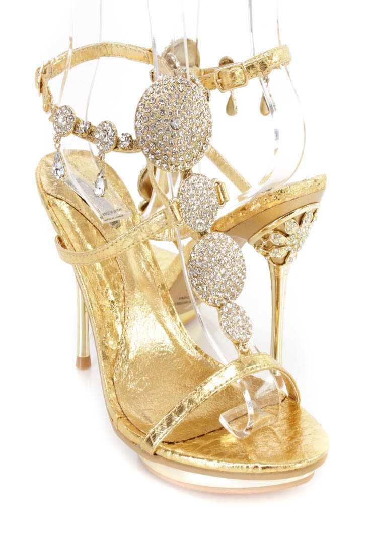 Gold Rhinestone Pendant Strappy Heels Faux Leather