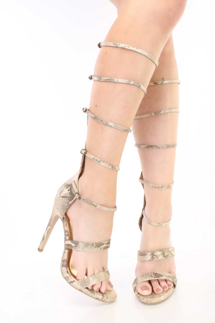 Light Gold Strappy Gladiator Single Sole Heels Nubuck
