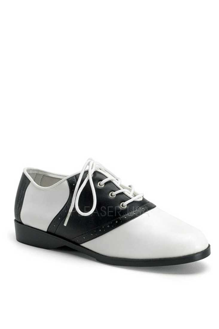 Black White Oxford Saddle Flats Faux Leather