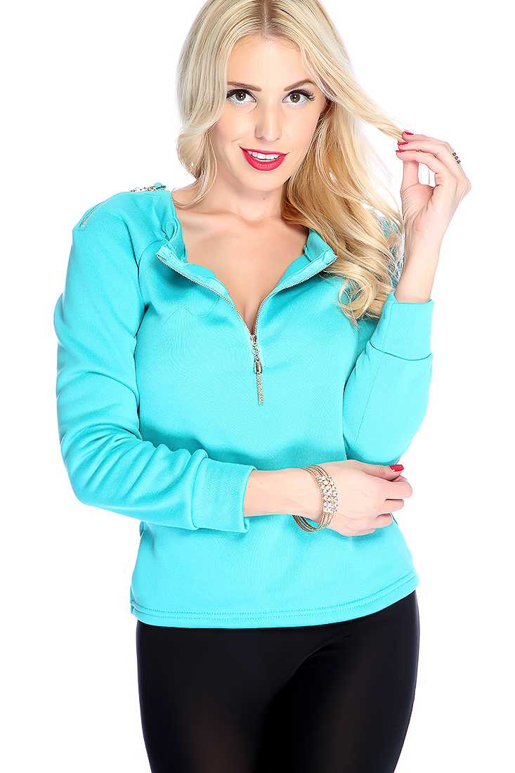 Aqua Tassel Zipper Shoulder Long Sleeve Sweater