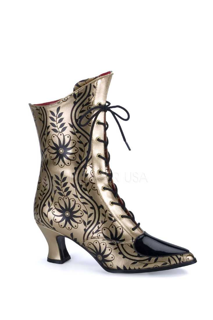 Gold Black Floral Print Victorian Boots Faux Leather