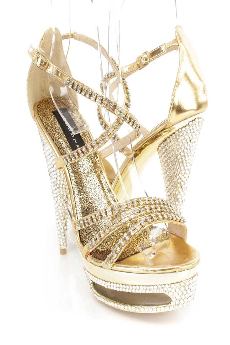 Gold Rhinestone Strappy Platform 6 Inch High Heels Faux Leather