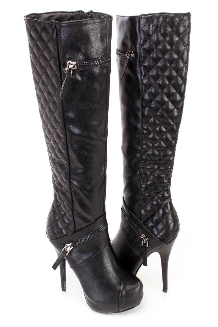 Black Stitched Quilted High Heel Boots Faux Leather