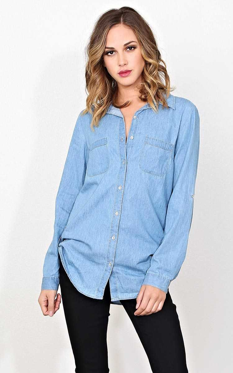 Brooke Woven Chambray Top - MED - Lt Wash in Size Medium by Styles For Less