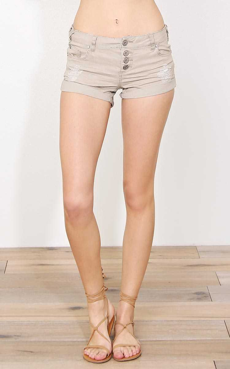 Khaki Beach Day Denim Shorts - Khaki in Size by Styles For Less