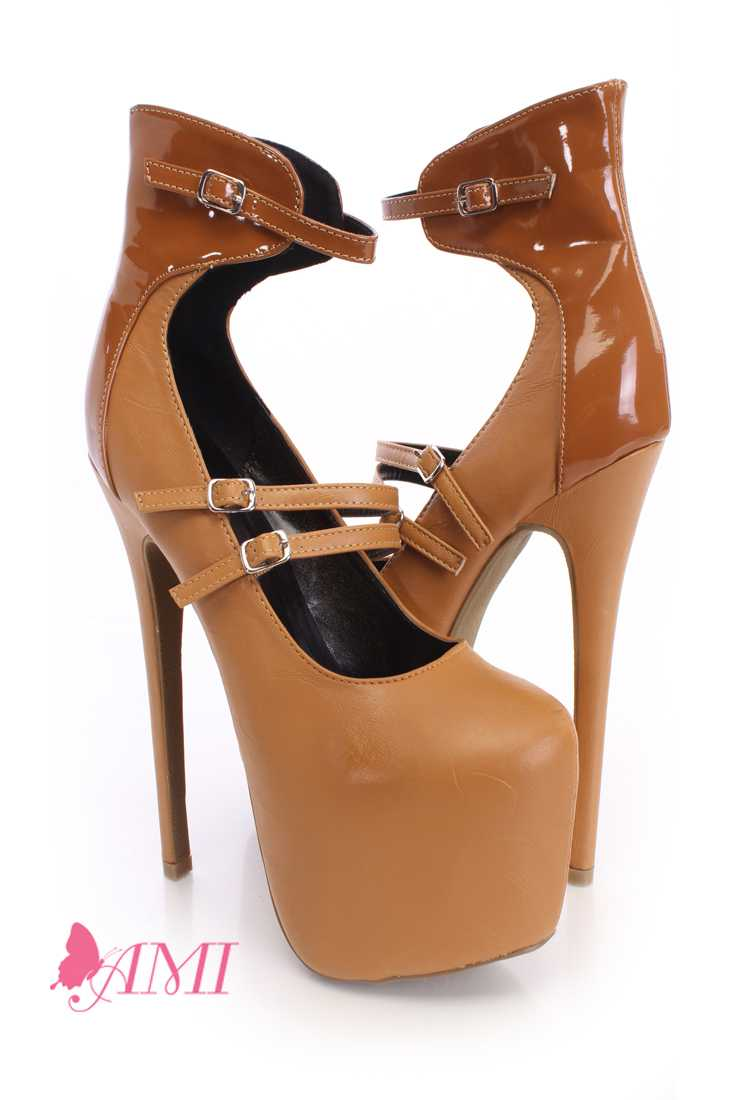Camel Strappy Platform Heels Faux Leather
