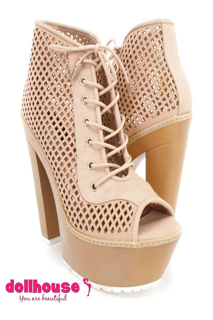 Blush Perforated Lace Up Chunky Heel Booties Faux Leather