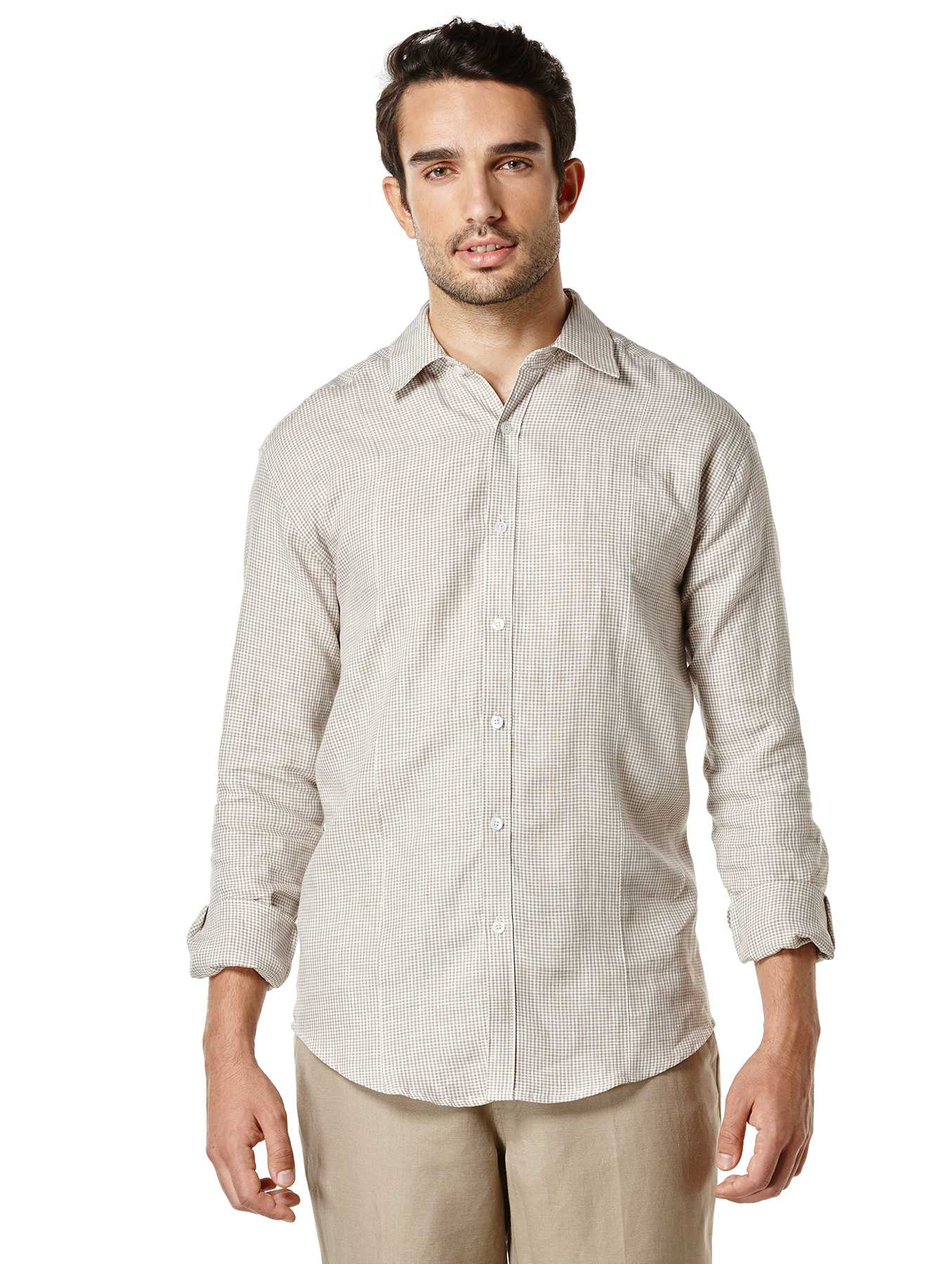 Cubavera 100% Linen Long Sleeve Front Tuck Gingham