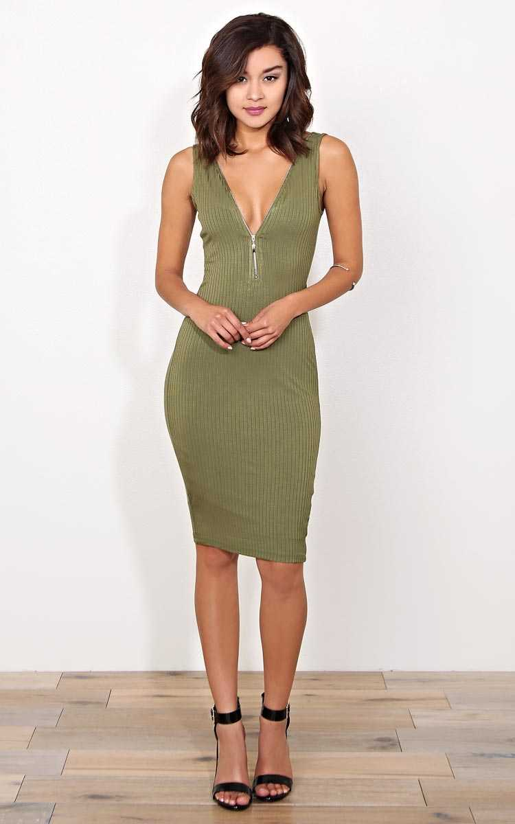 Zipper Rib Knit Midi Dress - LGE - Olive/Drab in Size Large by Styles For Less