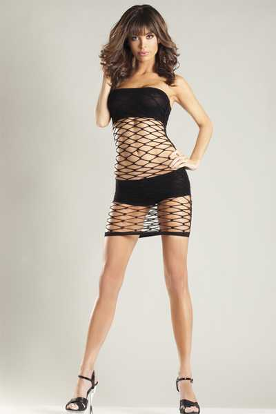 Black Wide Fence Net Bandeau Shorts Tube Dress