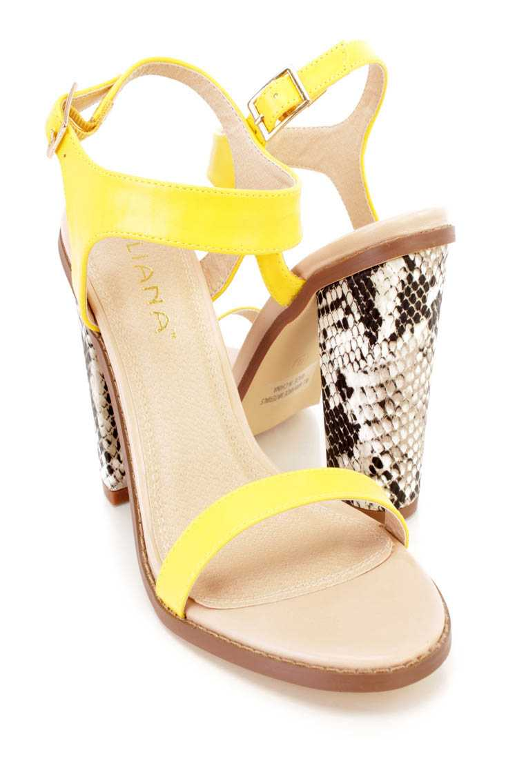 Yellow Single Sole Snake Skin Print Chunky Heels Faux Leather