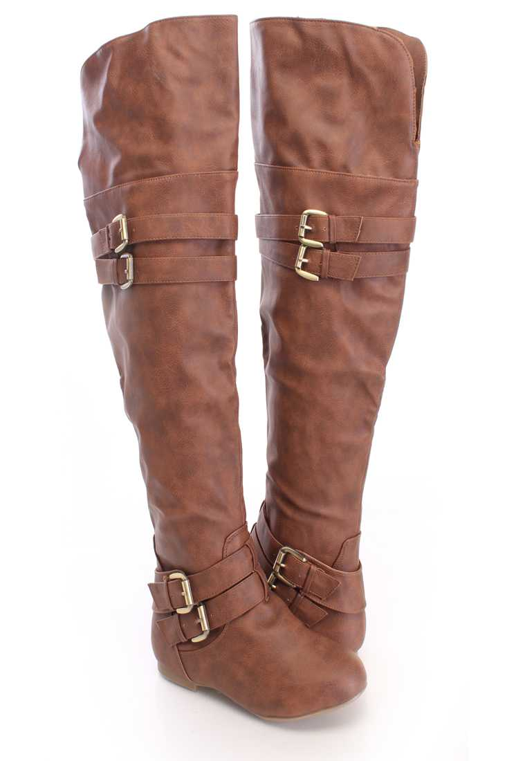 Tan Thigh High Riding Boots Faux Leather
