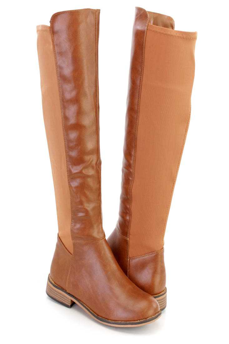 Camel Knee High Riding Boots Faux Leather Nylon