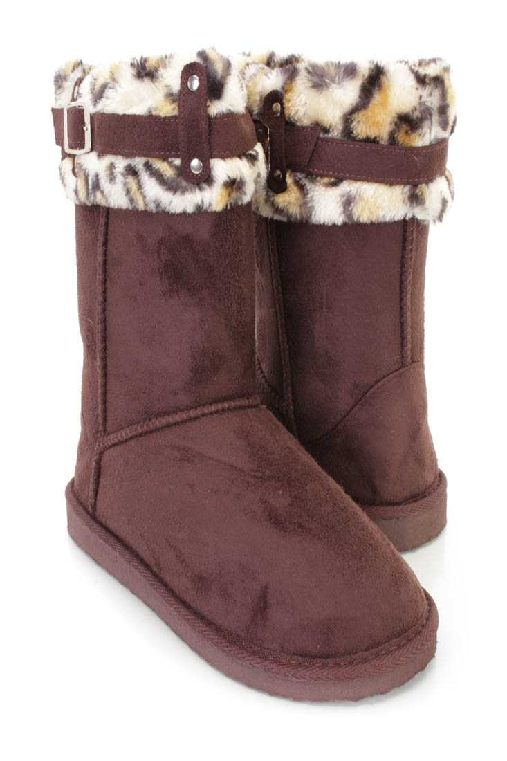 Brown Faux Fur Cuffed Casual Flat Boots Faux Suede