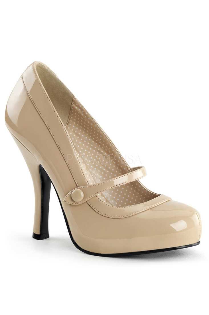 Cream Leather Strapped High Heels Patent Faux Leather
