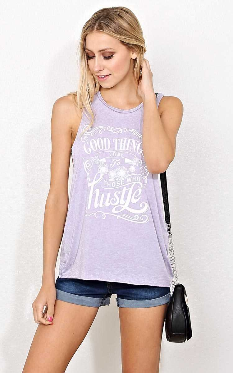 GOOD THINGS COME Graphic Muscle Tank - - Dusty Plum in Size by Styles For Less