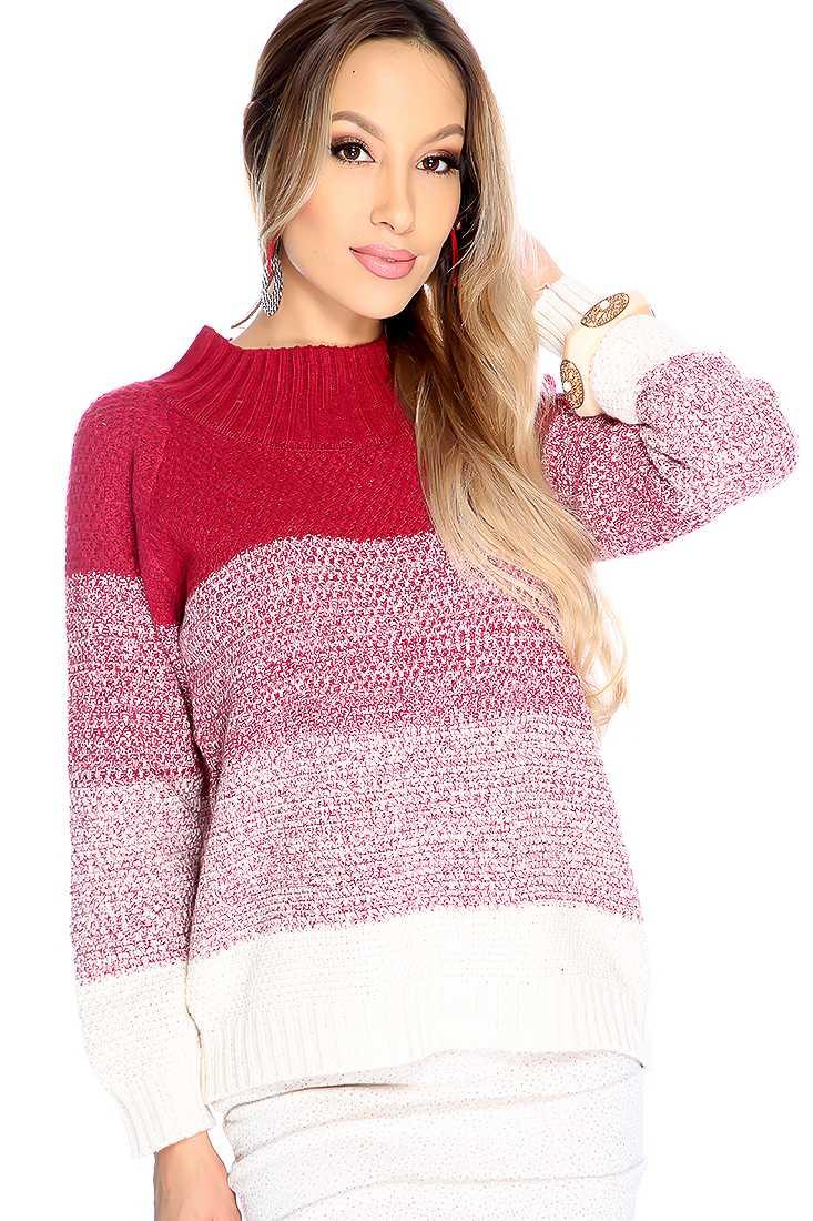 Stylish Burgundy Beige Long Sleeve Mock Neck Two Tone Sweater